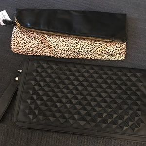 Rocker twin set—Black studded and cheetah clutches